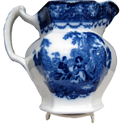 Antique Flow Blue Watteau Pattern PITCHER, Excellent Condition