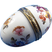 SALE French Sterling and Porcelain Hand Painted Egg Shaped Hinged Box