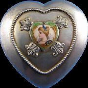Antique Gorham Company Sterling, Cut Glass and Enamel Art Nouveau Dresser Jar Heart Shaped