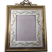 SALE Antique HUGE French Bronze Frame with Embroidered Mat C-1900