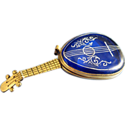 SALE Antique Figural Mandolin Patch Vanity Box, Cobalt Blue, RARE!