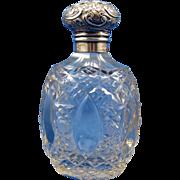 SALE Antique English Perfume Scent Bottle, Sterling Top, Beautiful Design, C-1900