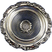 SALE Vintage Silver Plate Dish with Ribbon Design and Grape Motif