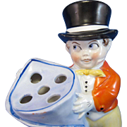 Antique RARE, Man in Top Hat Hatpin Holder, Germany
