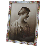SOLD Antique Enamel And Brass Picture Photo Frame, Roses, NR C-1900
