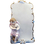 Antique Bisque Table Menu with Cherub with Wine Glass
