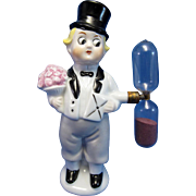 SOLD Vintage Germany Boy in a Tux with Flowers and Top Hat Egg Timer