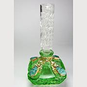 SALE Czech Jeweled Perfume Bottle Green with Malachite Glass Stones