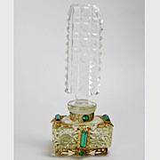 SALE Yellow Base Czech Jeweled Mini Perfume Bottle