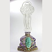 SALE Amethyst Jeweled Czech Perfume Bottle Lady Stopper
