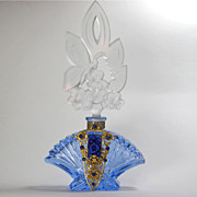 SALE Czech Blue Jeweled Perfume Bottle Butterfly Stopper