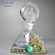 Czech Jeweled Perfume Bottle with Malachite Glass Stones