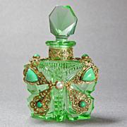 SALE Green Czech Jeweled Butterfly Perfume Bottle