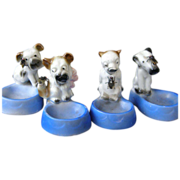 SALE German Art Deco Porcelain Puppy Salt Dishes