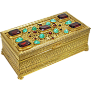 SOLD Austrian Bronze Jeweled Box