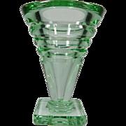 SALE Daum France Green Art Deco Thick Walled Vase