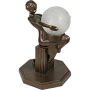 Frankart Art Deco Sitting Nude Table Lamp 1930s