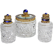 Austrian Jeweled 3pc Cut Glass Perfume Bottles & Powder Box