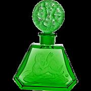 Hoffman Green Czech Perfume Bottle Inca & Parrot