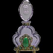 Czech Jeweled Amethyst Perfume Bottle Large Green Malachite Stone