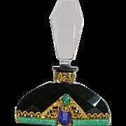 Black Neiger Jeweled Czech Perfume Bottle