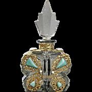 Large Size Czech Butterfly Jeweled Perfume Bottle
