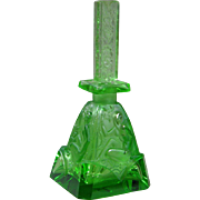 Green Czech Ingrid Perfume Bottle with Nudes