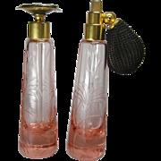 Pair of hand Cut Pink DeVilbiss 1928/29 Perfume Atomizer & Dauber