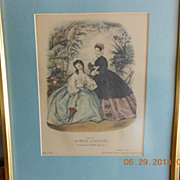 "Small Framed Print of French Fashions from ""La Mode Illustree"""