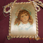 Lovely Picture of Girl Painted on Silk