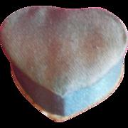 Tiny Blue Fabric Covered Heart Shaped Box