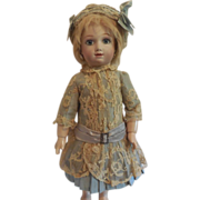 "Pale Green Silk and Lace Bebe Dress and Hat for 16-18"" Freanch Doll"
