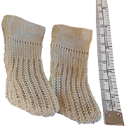 Old Knit Stockings for Antique Bebe French or German