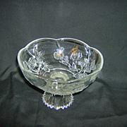 Pedestal Bowl ~ KIG Indonesia ~ Embossed Roses