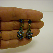 Vintage Aurora Borealis Dangle ~ Screw Back ~ Earrings