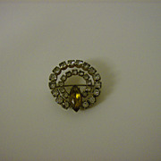 Vintage Amber and Rhinestone Brooch