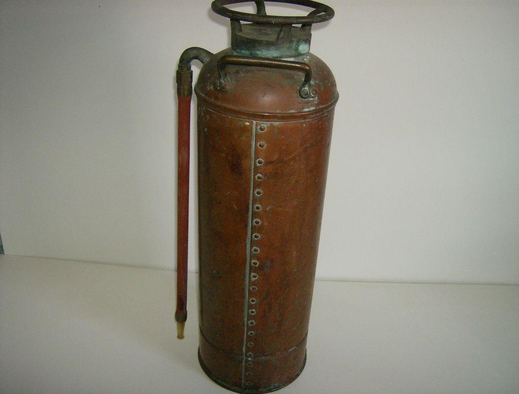 can extinguisher vintage antique copper fire