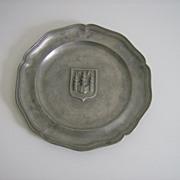 Pewter Plate ~ Shield Design ~ Castle