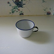 Granite Ware Child's Cup White with Cobalt Blue Trim and Black Handle