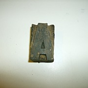 "Hand Carved Wood Printer's Block Letter ""A"""