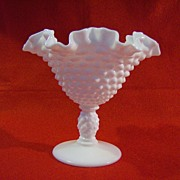 Fenton Milk Glass Hobnail Nut Compote