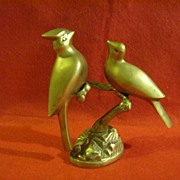 "Brass Birds ""Cardinals"" on Branch"