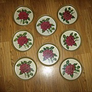 Rose Decorated Metal Snack Trays ~ Set of 8