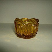 Amber Pressed Glass Votive Candle Holder ~ Wedding Ring Pattern