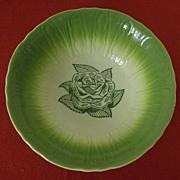 Green Rose Serving Bowl ~ Promotional Item ~ 1950's