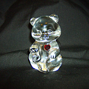 Fenton Crystal Art Glass July Birthday Bear with Ruby Red Heart