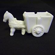 Milk Glass Donkey pulling Cart Ashtray