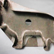 Antique Flatback Tin Cow Cookie Cutter Rolled Handle