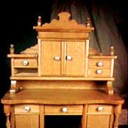 Antique Dollhouse Min Schneegas Golden Oak Large Ornate Desk or Cabinet or Sideboard