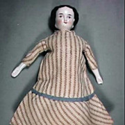 """7 1/2"""" Doll House Size Flat Top China Head Doll Wearing Nice Period Dress"""